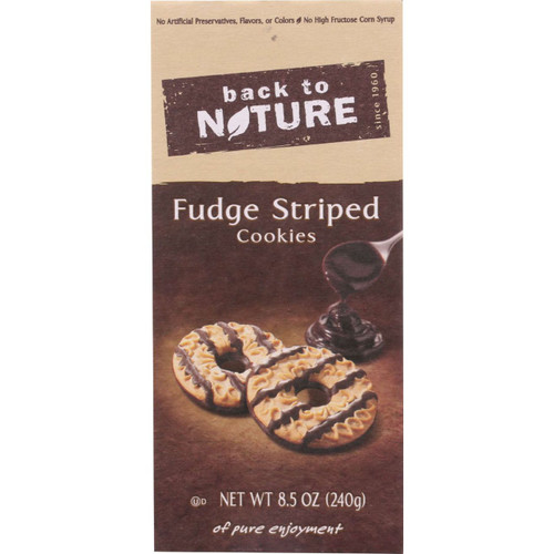 Back To Nature Cookies Fudge Striped Shortbread 8.5 oz case of 6