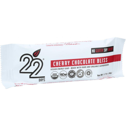 22 Days Nutrition Organic Energy Bar Cherry Chocolate Bliss Case of 12 1.7 oz Bars
