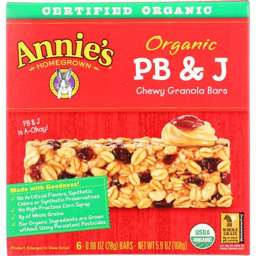 Annies Homegrown Granola Bar Organic PBandJ 5.9 oz case of 12