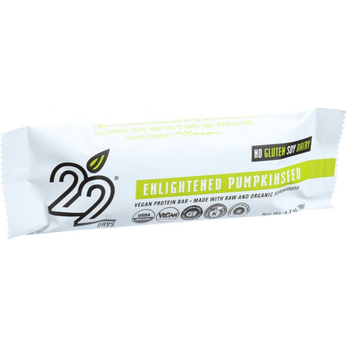 22 Days Nutrition Organic Protein Bar Enlightened Pumpkinseed Case of 12 1.7 oz Bars