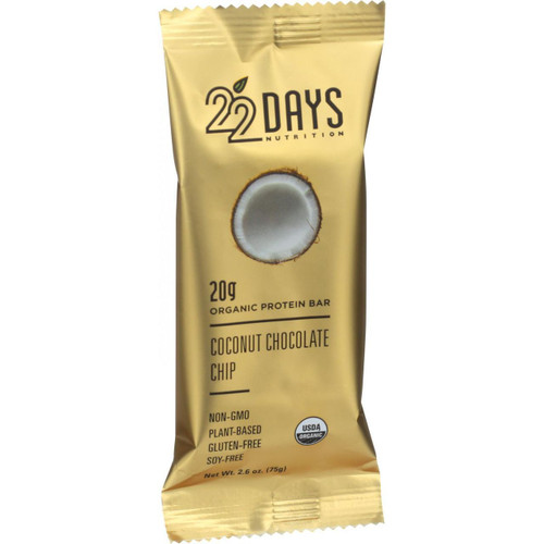 22 Days Nutrition Organic Protein Bar Coconut Chocolate Chip Case of 12 2.6 oz Bars