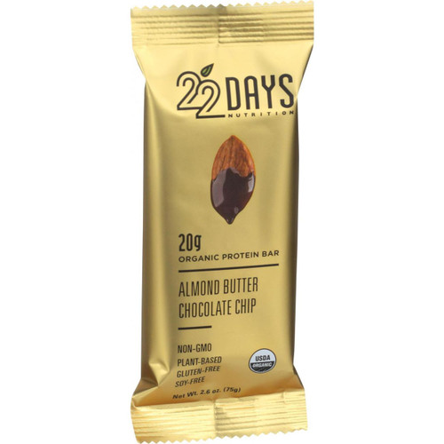 22 Days Nutrition Organic Protein Bar Almond Butter Chocolate Chip Case of 12 2.6 oz Bars