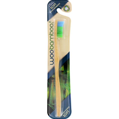 WooBamboo Toothbrush Standard Handle Soft Blue and Green 1 Count Case of 12