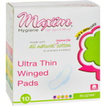 Maxim Hygiene Natural Cotton Ultra Thin Winged Pads Overnight 10 Pads