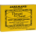 Jakemans Throat and Chest Lozenges Honey and Lemon Case of 24 24 Pack