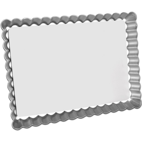 """Fat Daddio's Oblong Fluted Tart Pan, 11 1/4"""" x 8 1/8"""" x 1"""", removable bottom"""