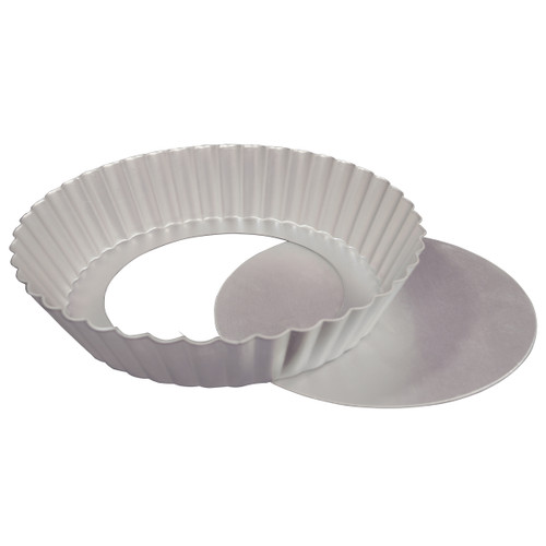 """Fat Daddio's Fluted Tart Pan, 12"""" x 2"""", removable bottom Box of 6"""
