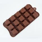 """Fat Daddio's Silicone Chocolate Mold, 9.13"""" x 4.18"""", Square Gift Box, 1.06"""" square x .79"""" high, 15 pcs per mold"""