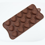 "Fat Daddio's Silicone Chocolate Mold, 9.13"" x 4.18"", Stamped Heart, 1.1"" x .75"" high, 15 pcs per mold"