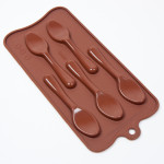 "Fat Daddio's Silicone Chocolate Mold, 9.13"" x 4.18"", Spoons, 4.13"" x 1"" x .34"", 5 pcs per mold"
