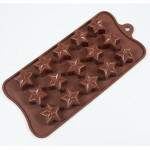 "Fat Daddio's Silicone Chocolate Mold, 9.13"" x 4.18"", Jeweled Star, 1.22"" x .71"" 15 pcs per mold"