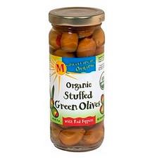 Mediterranean Organics Stuffed Green Olives Red Peppers (12x8.5Oz)