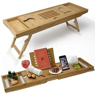 Luxury Bamboo Bathtub Caddy & Laptop Bed Desk