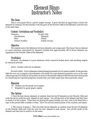 Element Bingo PDF