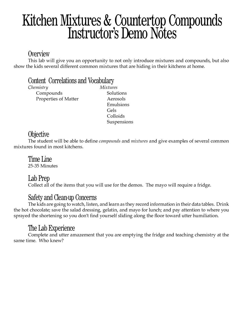 Kitchen Mixtures & Countertop Compounds PDF