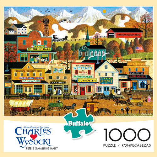 Charles Wysocki Pete's Gambling Hall 1000 Piece Jigsaw Puzzle Box