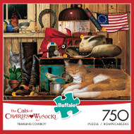 The Cats of Charles Wysocki Traveling Cowboy 750 Piece Jigsaw Puzzle Box