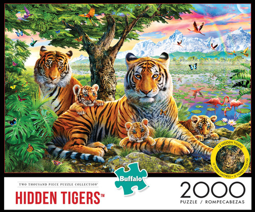 Hidden Tigers 2000 Piece Jigsaw Puzzle Box
