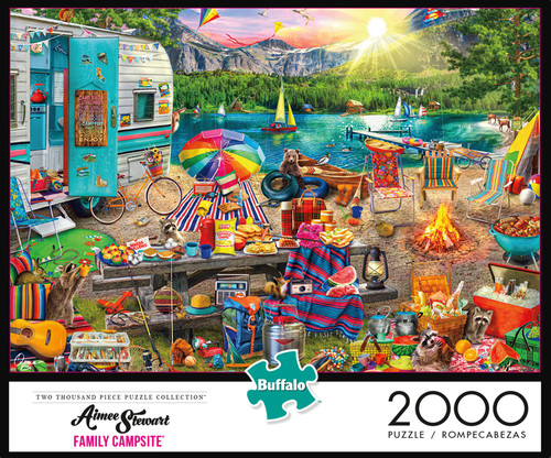 Aimee Stewart Family Campsite 2000 Piece Jigsaw Puzzle Box