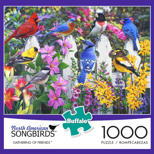 North American Songbirds Gathering Of Friends 1000 Piece Jigsaw Puzzle Box