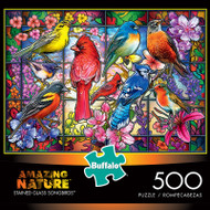 Amazing Nature Stained Glass Songbirds 500 Piece Jigsaw Puzzle Box
