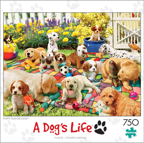 A Dog's Life Puppy Playground 750 Piece Jigsaw Puzzle Box