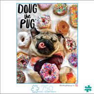 A Dog's Life Doug the Pug Donut Doug 750 Piece Jigsaw Puzzle Box