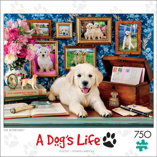 A Dog's Life The Retrievers 750 Piece Jigsaw Puzzle Box