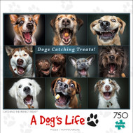 A Dog's Life Catching the Perfect Treat 750 Piece Jigsaw Puzzle Box