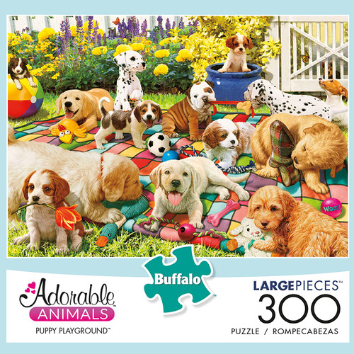 Adorable Animals Puppy Playground 300 Large Piece Jigsaw Puzzle Box
