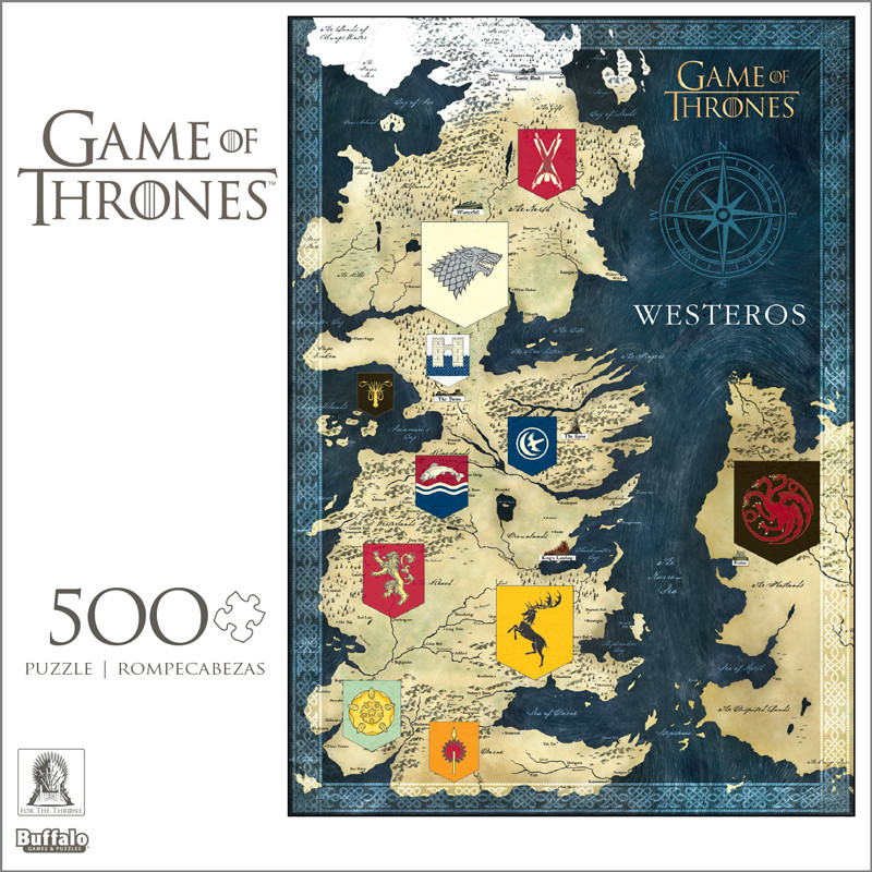 Game of Thrones Map of Westeros 500 Piece Jigsaw Puzzle Game O Thrones Map on sons of anarchy, fire and blood, gendry map, the kingsroad, themes in a song of ice and fire, a game of thrones collectible card game, clash of kings map, justified map, dallas map, a storm of swords map, valyria map, the prince of winterfell, world map, downton abbey map, star trek map, jericho map, a storm of swords, lord snow, camelot map, guild wars 2 map, spooksville map, winter is coming, walking dead map, a clash of kings, narnia map, a game of thrones, jersey shore map, winterfell map, bloodline map, a game of thrones: genesis, works based on a song of ice and fire, game of thrones - season 1, the pointy end, a golden crown, got map, game of thrones - season 2, tales of dunk and egg, qarth map,