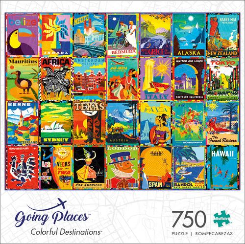 Going Places Colorful Destinations 750 Piece Jigsaw Puzzle Box