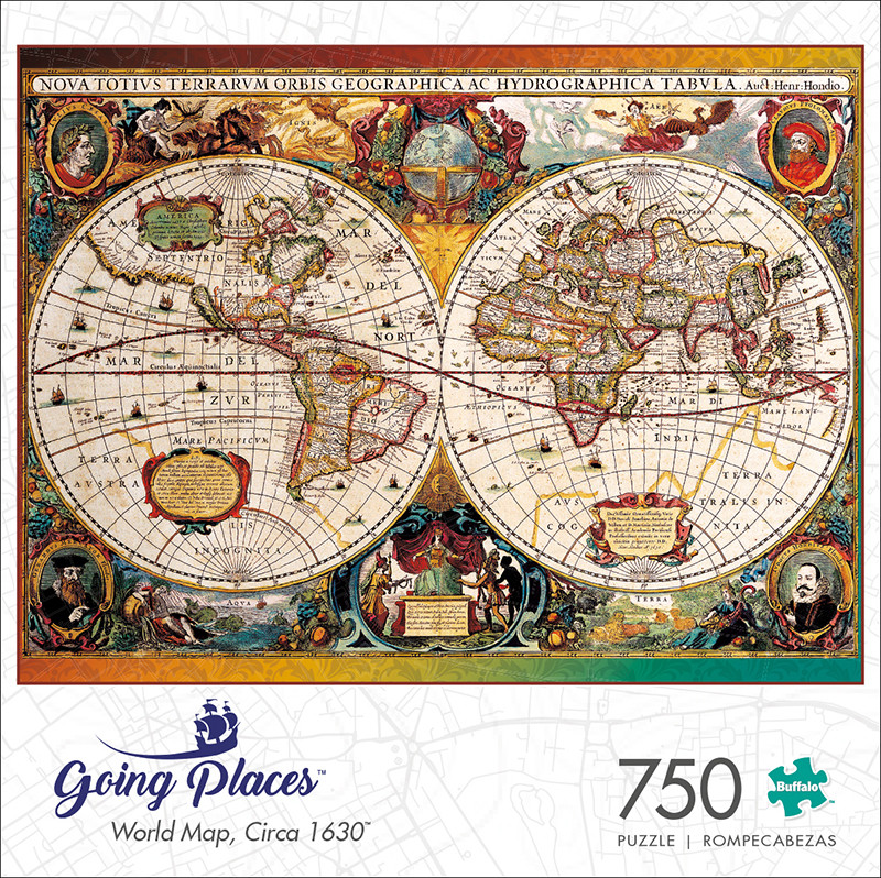 Going Places World Map, Circa 1630 750 Piece Jigsaw Puzzle - Buffalo ...