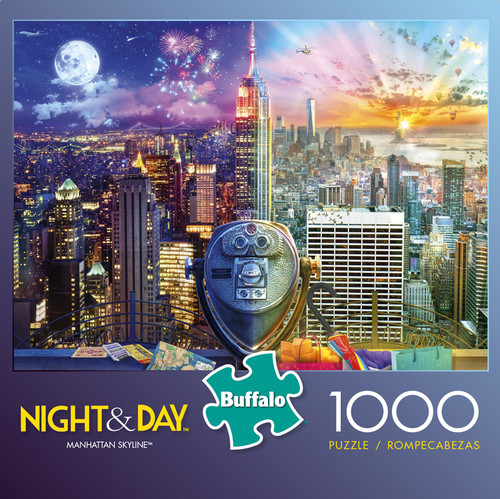 Night & Day Manhattan Skyline 1000 Piece Jigsaw Puzzle Box