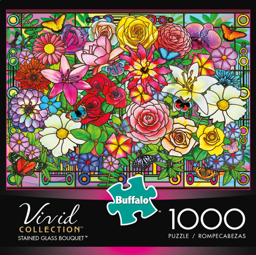 Vivid Stained Glass Bouqet 1000 Piece Box