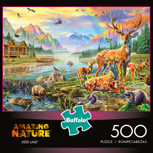 Amazing Nature Deer Lake 500 Piece Jigsaw Puzzle Box