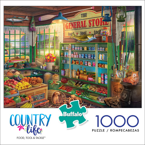 Country Life Food, Tool, and Tackle 1000 Piece Jigsaw Puzzle Box