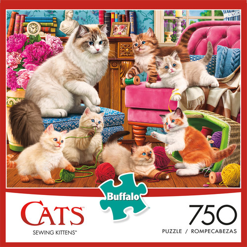 Cats Sewing Kittens 750 Piece Jigsaw Puzzle Box