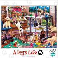 A Dogs Life Painting Puppies 750 Piece Jigsaw Puzzle Box