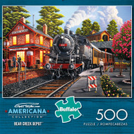 Americana Collection Bear Creek Depot 500 Piece Jigsaw Puzzle Box