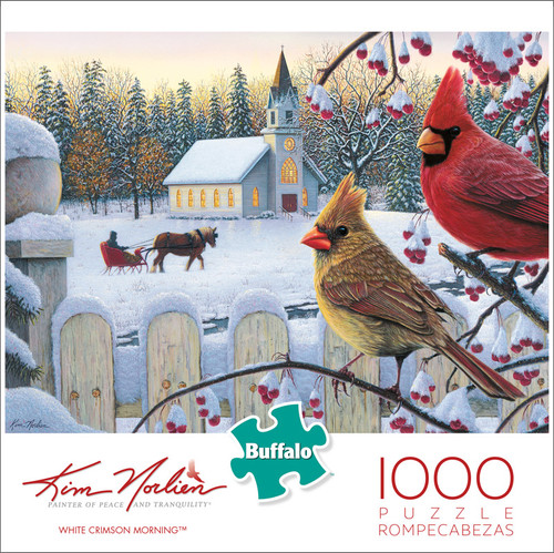 Kim Norlien White Crimson Morning 1000 Piece Jigsaw Puzzle Box