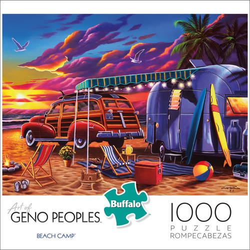 Geno Peoples Beach Camp 1000 Piece Jigsaw Puzzle Front
