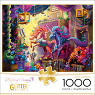 Flights of Fantasy Twilight Marketplace Glitter Edition 1000 Piece Jigsaw Puzzle Front