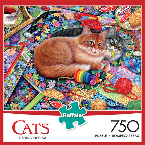 Cats Puzzling Problem 750 Piece Jigsaw Puzzle Front