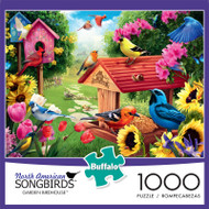 North American Songbirds Garden Birdhouse 1000 Piece Jigsaw Puzzle Front