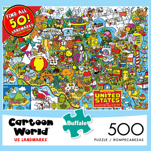 Cartoon World US Landmarks 500 Piece Jigsaw Puzzle Front