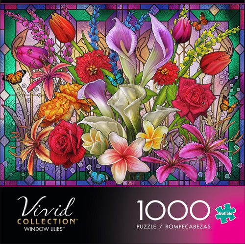 Vivid Window Lilies 1000 Piece Jigsaw Puzzle Front