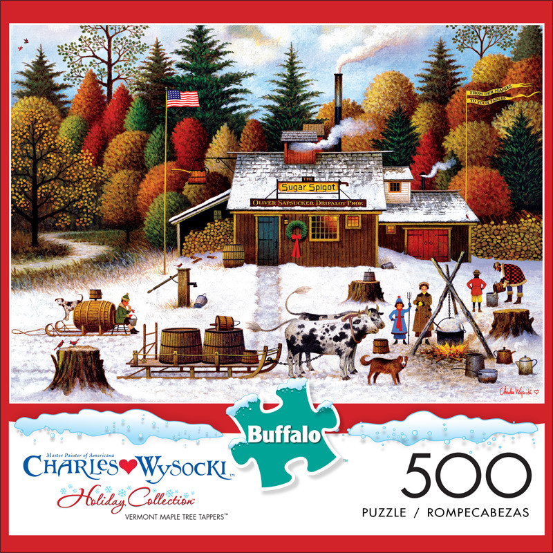 Charles Wysocki VERMONT MAPLE TREE TAPPERS Holiday Collection 500 Piece Puzzle