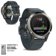 Garmin Fenix 5 Multisport GPS Sports Watch Integrated HRM - Granite Blue (Garmin Newly Overhauled)
