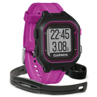 Garmin Forerunner 25 GPS Running Watch with Basic HRM - Small, Black/Purple (Garmin Newly Overhauled)